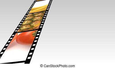 Assortment of Fruit and veg on a film reel -2