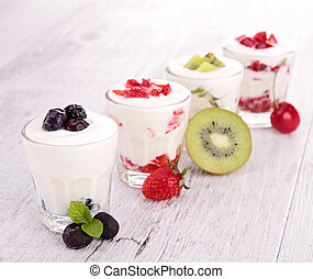 assortment of fruit and yogurt