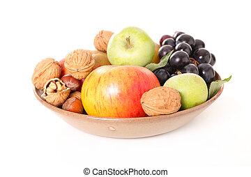 assortment of fruit-apple, grape, nut