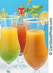 Assortment of fruit cocktails