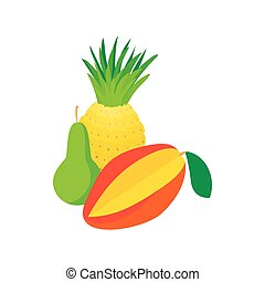 Assortment of fruit icon, cartoon style
