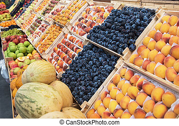 Assortment of fruits at market