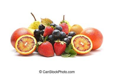 Assortment of fruits isolated on white background