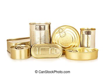 Assortment of golden food tin can reflected on white...