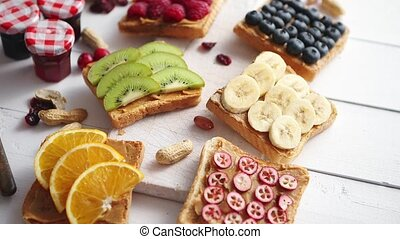Assortment of healthy fresh breakfast toasts