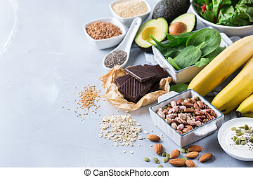 Assortment of healthy high magnesium sources food - Healthy ...
