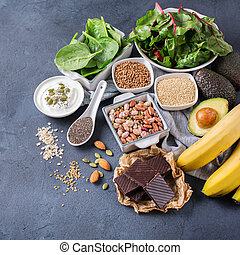 Assortment of healthy high magnesium sources food - Healthy...