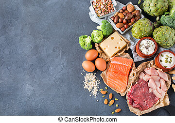 Assortment of healthy protein source and body building food...