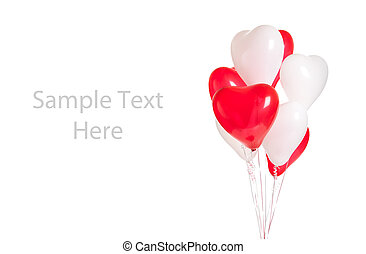 Assortment of heart balloons on white with copy space