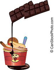 assortment of ice cream with chocolate