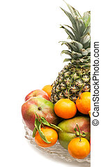 Assortment of juicy fruits on white background