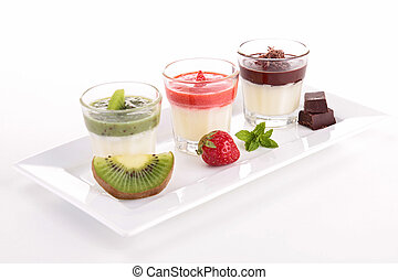 assortment of panna cotta