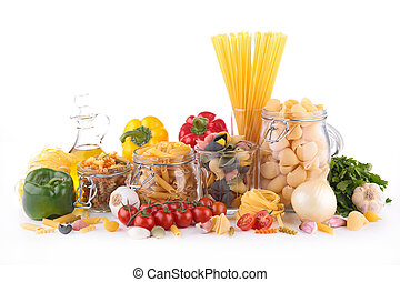assortment of pasta and ingredients