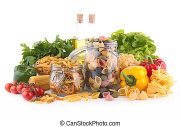 assortment of pasta and vegetables