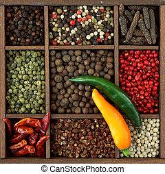 Assortment of peppercorns