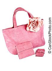 Assortment of pink handbags