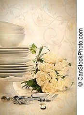 Assortment of plates for wedding on white background/ Vintage look