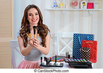 Assortment of professional powder brushes