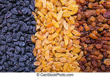 assortment of raisins background, texture