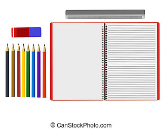 Assortment of school supplies on white background