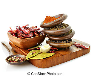 spices - assortment of spices on a cuuting board