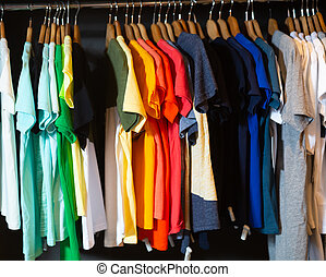 Assortment of summer clothing in modern store
