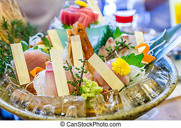 Assortment of sushi and sashimi served on a plate