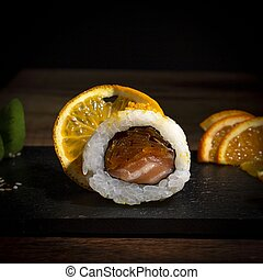 Assortment of sushi on a plate