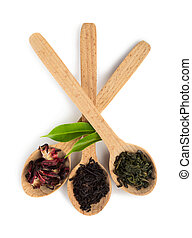 Assortment of tea leaves