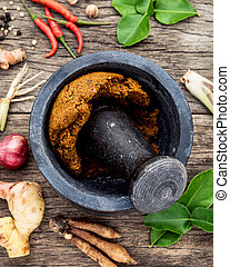 Assortment of Thai food Cooking ingredients and Paste of ...