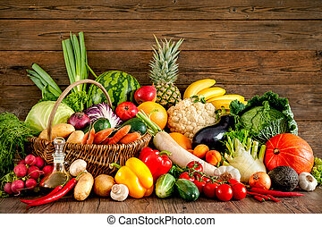 Assortment of the fresh fruits and vegetables