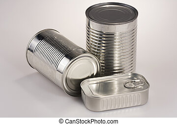Assortment of Tin Can - Assortment of various silver tin...