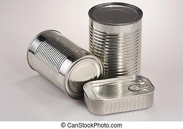 Assortment of Tin Can - Assortment of various silver tin...