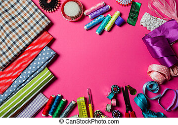 Assortment of tools for dressmaking and sewing hobby