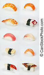assortment of traditional japanese sushi on white background