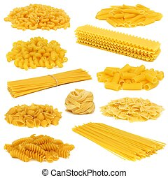 Assortment of uncooked dry pasta of differing types isolated on a white background