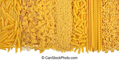Assortment of uncooked italian pasta on a white