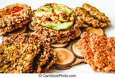 assortment raw breads, healthy crackers, vegan diet