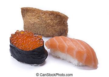 assortment sushi - assortment whit mixed sushi isolated on ...