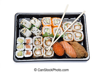 assortment sushi in box
