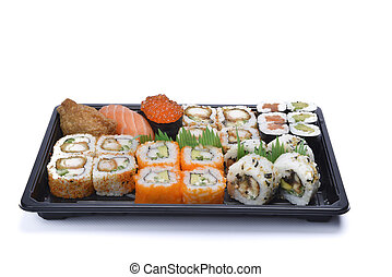 assortment sushi isolated on white background