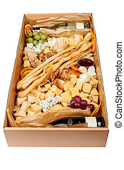 Assortment Wine Cheese Fruit Carton Box Delivery