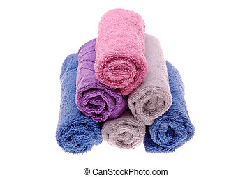 Hand Towels - Assotred colors of Hand Towels forming pyramid...