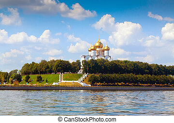 Assumption Cathedral in Yaroslavl from junction rivers in summer. Russia