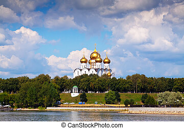 Assumption Cathedral in Yaroslavl from Volga in the summer. Russia