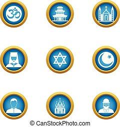 Assumption icons set, flat style - Assumption icons set....