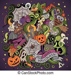 assunto, dia das bruxas, hand-drawn, doodles, caricatura