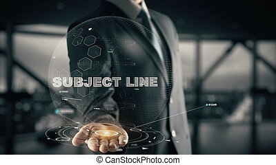 assunto, linha, com, hologram, homem negócios, conceito
