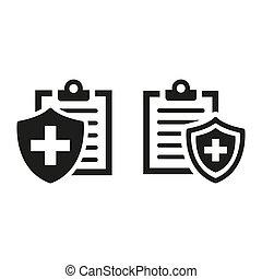 assurance, arrière-plan., monde médical, blanc, icônes