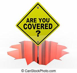 assurance assurance, signe, politique, danger, vous, illustration, couvert, 3d